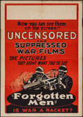 "Movie Posters:Documentary, Forgotten Men (Jewel Productions, 1933). One Sheet (27"" X 41""). Documentary.. ..."