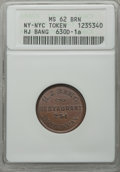 Civil War Merchants, Undated H.J. Bang, New York, New York, MS62 Brown NGC,Fuld-NY630D-1a; Undated Broas Pie Baker, New York, New York, MS62Red a... (Total: 2 tokens)