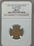Civil War Tokens, Undated J.A. Garman, 54th Pennsylvania Volunteers, MS63 NGC.S-I10Ba, PA-54-10Ba....