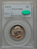 Washington Quarters: , 1937-S 25C MS66 PCGS. CAC. PCGS Population (188/31). NGC Census:(150/27). Mintage: 1,652,000. Numismedia Wsl. Price for pr...