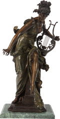 Bronze:European, A FRENCH COLD PAINTED BRONZE FIGURE AFTER ALBERT-ERNEST CARRIERBELLEUSE: MELODIE, 20th century. Marks t...