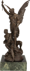 Bronze:European, A PATINATED BRONZE EXCELSIOR FIGURAL GROUP ON A MARBLEVENEERED BASE AFTER EMILE PICAULT, Paris, France, circa 1...(Total: 2 Items)