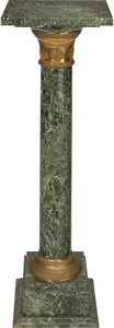 Decorative Arts, French:Other , AN EMPIRE-STYLE VERDE MARBLE AND GILT BRONZE PEDESTAL, early 20thcentury. 41-3/8 x 11-1/2 x 11-1/2 inches (105.1 x 29.2 x 2...(Total: 2 Items)