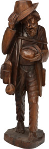 Decorative Arts, Continental:Other , A BLACK FOREST CARVED WOOD BEGGAR, 19th century. 39 inches high(99.1 cm). ...
