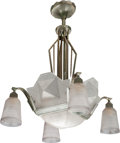 Lighting:Chandeliers, A FRENCH WHITE METAL AND FROSTED GLASS EIGHT-LIGHT CHANDELIER BY H. PETITOT, circa 1930. Marks to glass: H. PETITOT, FRANC... (Total: 5 Items)
