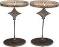 Furniture : Continental, A PAIR OF MIRRORED GLASS, IRON AND WOOD SIDE TABLES, 20th century.25-3/4 x 16-1/4 x 12-1/8 inches (65.4 x 41.3 x 30.8 cm). ...(Total: 2 Items)