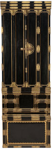 Asian:Japanese, A THREE-PART JAPANESE GILT AND EBONIZED SHRINE CABINET WITH SMALL BRONZE DEITY. 76 x 26-1/2 x 22-1/2 inches (193.0 x 67.3 x ... (Total: 3 Items)