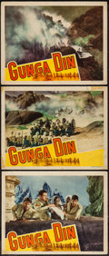 """Movie Posters:Action, Gunga Din (RKO, 1939). Lobby Cards (3) (11"""" X 14""""). Action.. ... (Total: 3 Items)"""