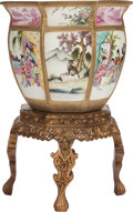 Asian:Chinese, A LARGE CHINESE FAMILLE ROSE PORCELAIN FISHBOWL AND GILT WOODSTAND, 20th century. 34-3/4 inches high (88.3 cm) (including s...