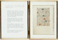 Books:Prints & Leaves, [Manuscript Leaf on Vellum]. Vellum Leaf from a Book of Hours. Ca.1450. Measures 3.75 x 5.25 inches. Framed. Please see des...