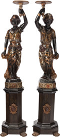 Decorative Arts, Continental:Other , A PAIR OF VENETIAN POLYCHROME, PARCEL GILT AND CARVED WOODBLACKAMOOR FIGURES ON STANDS, early 19th century. 78-1/2 inchesh... (Total: 2 Items)