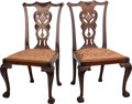 Furniture , A PAIR OF CHIPPENDALE-STYLE UPHOLSTERED MAHOGANY SIDE CHAIRS, late 19th century. 37-1/2 x 21 x 18-1/2 inches (95.3 x 53.3 x ... (Total: 2 Items)