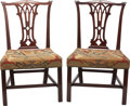 Furniture : Continental, A PAIR OF CHIPPENDALE-STYLE UPHOLSTERED MAHOGANY SIDE CHAIRS, circa1900. 37 x 23 x 19 inches (94.0 x 58.4 x 48.3 cm). ... (Total: 2Items)