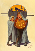 Paintings, FREDERIC STANLEY (American, 1892-1967). Halloween Scare, The Saturday Evening Post cover, November 2, 1935. Oil on canva...
