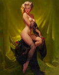 Pin-up and Glamour Art, GIL ELVGREN (American, 1914-1980). Golden Beauty, Brown &Bigelow calendar illustration, 1957. Oil on canvas. 30 x 24in...