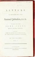 Books:Biography & Memoir, [Samuel Johnson] Letters to and from the Late Samuel Johnson, LL. D. London: A. Strahan and T. Cadell, 1788. Two vol... (Total: 2 Items)