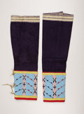 Other, A PAIR OF ASSINIBOINE WOMAN'S BEADED CLOTH LEGGINGS. c. 1890 . ... (Total: 2 Items)