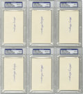 Autographs:Index Cards, Harry Hooper Signed Index Cards, PSA-Graded Group Lot of 6. One half dozen PSA-graded index cards from Harry Hooper, the ma...