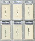 Autographs:Index Cards, Edd Roush Signed PSA Mint 9 Index Cards, Lot of 6. One of the fiercest bats of the Dead Ball Era was Edd Roush, who eclipse...