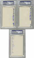 Autographs:Index Cards, Cool Papa Bell and Buck Leonard Signed PSA-Graded Index Cards Lotof 3. Trio of Hall of Fame signatures from two men who ear...