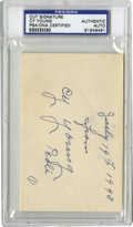 Autographs:Letters, 1943 Cy Young Cut Signature, PSA Authentic. Towering well above therest of his competition is the 511 wins of the great hu...