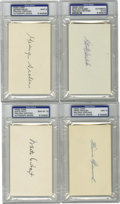 Autographs:Index Cards, Baseball Hall of Famers Signed Index Cards PSA-Graded Lot of 4. Allfour of the signed index cards that we present here hav...