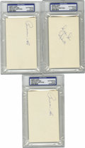 Autographs:Index Cards, Baseball Stars Signed Index Cards, PSA-Graded Group Lot of 6. Half dozen signed index cards from vintage baseball stars of t...