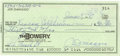 Autographs:Checks, Joe DiMaggio Signed Personal Check. Dated 1987, the Yankee Clipperplaced his signature on the personal check that we provi...