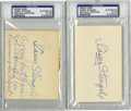 Autographs:Index Cards, Casey Stengel Signed Index Cards Lot of 2, PSA Authentic. The Old Professor is in the running for baseball's best manager o...