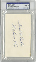 Autographs:Index Cards, Nelson Fox Signed Index Card, PSA Mint 9. With a bit of a rugged persona, the aggressive ballplayer Nellie Fox was regarded...