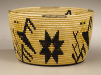 A PANAMINT PICTORIAL POLYCHROME COILED BASKET MARY WRINKLE c. 1935