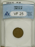 Lincoln, 1909-S 1C VF25 ANACS. NGC Census: (42/568). PCGS Population(128/869). Mintage: 309,000. Numismedia Wsl. Price for NGC/PCGS...