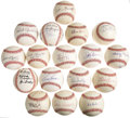 Autographs:Baseballs, 1980's-2000's Ford C. Frick Award Winners Signed Baseballs Lot of17. Fill that gaping hole in your Hall of Fame single sig...
