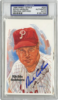 Autographs:Post Cards, Richie Ashburn Signed Perez-Steele Postcard, PSA Authentic. The brilliant Hall of Fame leadoff man Richie Ashburn is faithf...