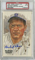Autographs:Post Cards, Burleigh Grimes Signed Perez-Steele Postcard PSA EX 5. Alwaysimpressive, the art from the Perez-Steele Galleries is on ful...