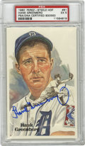 Autographs:Post Cards, Hank Greenberg Signed Perez-Steele Postcard PSA EX 5. Tigers all-time great slugger Hank Greenberg appears in this faithful...