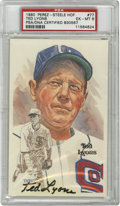 Autographs:Post Cards, Ted Lyons Signed Perez-Steele Postcard, PSA EX-MT 6. Exceptional art from the Perez-Steele Galleries' third series of Hall ...