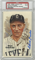 Autographs:Post Cards, Stan Coveleski Signed Perez-Steele Postcard PSA VG 3. The eccentricHall of Fame spitball pitcher provides an exceptional e...