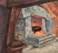 Animation Art:Production Drawing, The Black Cauldron Background Concept Art by James Coleman(Walt Disney, 1985)....