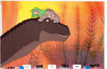 Animation Art:Production Cel, The Land Before Time Littlefoot and Mother Production CelSetup (Sullivan Bluth/Amblin, 1988).... (Total: 3 Original Art)