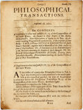 Books:Science & Technology, Thomas Hobbes; Martin Lister; Isaac Barrow; etc. Philosophical Transactions. Numb. 75. Septemb. 18.1671. The Contents. A...
