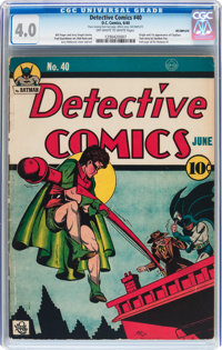 Detective Comics #40 Incomplete (DC, 1940) CGC VG 4.0 Off-white to white pages