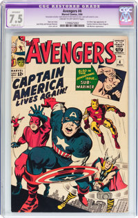 The Avengers #4 (Marvel, 1964) CGC Apparent VF- 7.5 Cream to off-white pages