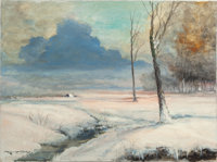 ROBERT WILLIAM WOOD (American, 1889-1979) A Pink Winter Sunrise Oil on canvas 18 x 24 inches (45