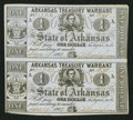 Obsoletes By State:Arkansas, (Little Rock), AR- State of Arkansas $1-$1 Treasury Warrant Jan. 17, 1863 Cr. 32A Uncut Pair. ...
