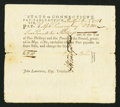 Colonial Notes:Connecticut, Connecticut Pay Table Office £2 10s December 1, 1781 Very Fine.....