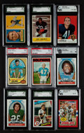 Football Cards:Lots, 1950's - 1970's Football Stars & HoFers Graded Collection (9). ...