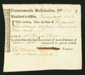 Colonial Notes:Massachusetts, Massachusetts Treasury Tax Collector's Certificate £6 5s 2d January29, 1783 Anderson MA-38 Extremely Fine-About New.. ...