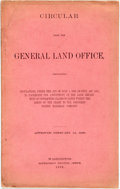 Books:Americana & American History, General Land Office: CIRCULAR FROM THE GENERAL LAND OFFICE,CONTAINING REGULATIONS... TO FACILITATE THE ADJUSTMENT BY THE LA...