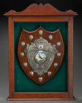 Decorative Arts, Continental:Other , AN ENGLISH VAUGHTON & SONS OAK, SILVER AND PORCELAIN SHIELDPRESENTATION PLAQUE IN SHADOW BOX FRAME, circa 1923. Marks: (lio...
